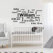 Baby Name Wall Designs Baby Stats Wall Art Nursery Wall Decor Db161 Designedbeginnings