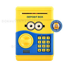 Đồ chơi cho bé két sắt mini có mật mã nhân vật phim hoạt hình mini.on màu  vàng dùng pin cho bé - Đồ khuyến mãi giá tốt, Giá tháng 4/2021