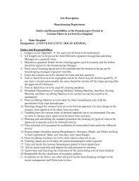 ... Housekeeping Duties And Responsibilities Resume ...