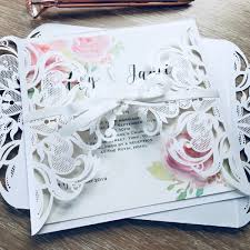Sample Of Weeding Invitation Laser Cut Sample Wedding Invitation With Bow