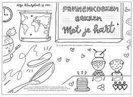 Kleurplaat Nationale Pannenkoekdag 2019 Stichting Met Je Hart