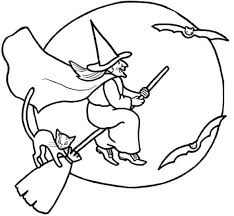 Image result for free vintage haunted house with witch coloring pages