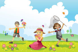 happy children in spring season stock vector illustration   happy children in spring season stock vector illustration 22336006
