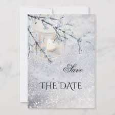 Winter Wedding Save The Date Sparkling Snow Winter Wedding Save The Date Card Zazzle Com