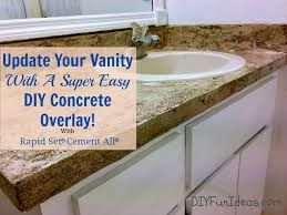materials needed for your diy vanity makeover with concrete overlay