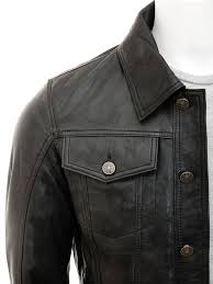 mens black leather trucker jacket foggia side