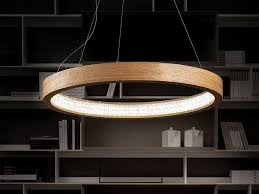 led direct light wooden pendant lamp libe round s115 by masiero