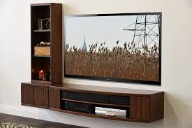 wall mount tv console  curve mocha   piece  bookcase  woodwaves