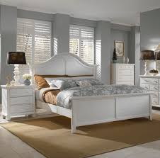 white bed frame set be equipped with white painted wooden bed frame which has finsbury headboard and cool drum shade bed lamp on white lacquered wooden
