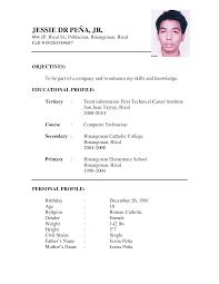 Simple Resume Format Simple Resume Format Sample Doc Biodata