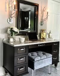 black makeup vanity with drawers. bathroom vanity. makeup vanity sconces are by kichler #42929 in polished chrome\u2026 black with drawers c