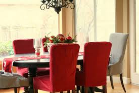 dining room fascinating decorating ideas using rectangular red grey fabric stacking chairs and table clothes also with oval black wooden tables fair designs covered 970x647