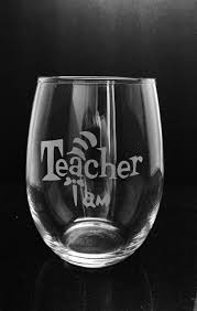 teacher etched wine gl dr seuss gift for teacher stemless wine gl