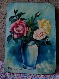 details about oil painting primitive original on wood signed folk art 10 x14 bouquet roses