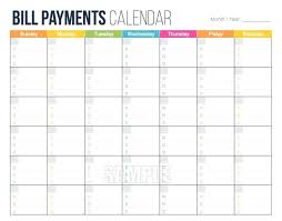 Bill Due Date Calendar Printable Blank Calendar Template