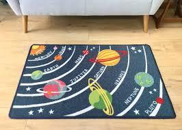 childrens bedroom playroom rug carpet large solar system planets 80cm x 120cm bright