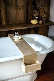 simple wood bath on wood bathtub tray l