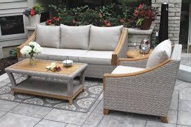 tna7000 wicker natural teak sofa with sunbrella cushions pillows
