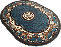 persian medallion oval woven 5x8 area rug lt blue actual size 5 3 x