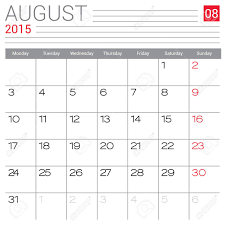 Simple Calendar Template 2015 August 2015 Calendar Vector Design Template Simple Blank Calendar