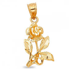 solid 14k yellow gold rose pendant flower charm diamond cut polished genuine