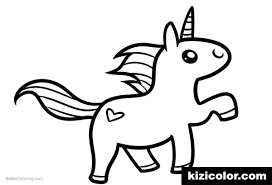 chibi unicorn easy clipart coloring page coloring pages