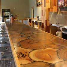 wood log cuts bar top ideas