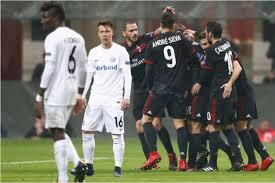 ac milan. para pemain ac milan merayakan gol mereka pada laga liga europa melawan austria wien, jumat ac