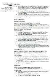 Sample Medical Technologist Resume