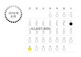 無料イラスト 2018年8月 月齢カレンダー