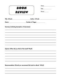 Book Review Form Where Students Fill In Basic Information About The