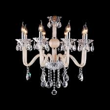 21 6 wide gracefully all glass arms clear crystal bobeches and dropleted chandelier