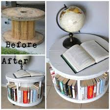 diy crafts ideas turn a cable spool into a bookshelf awesome upcycle idea