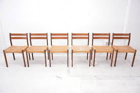 vine solid teak danish dining chairs with paper cord seats