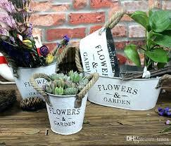tin flower pots pack multi style large garden metal pot planters decorative home small plant uk