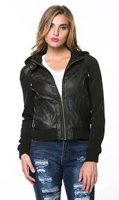 leather moto jacket with sweater insert in black plus sizes available soho girl