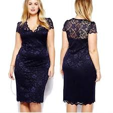 Sale on <b>Women Sexy Hollow Out</b> V Neck Lace Dress Slim Fit Plus ...