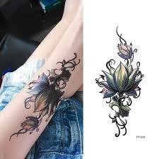 2018 новый водяной знак цветок эскиз тату наклейки водонепроницаемый наклейки