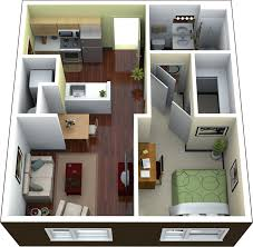 3D Average Modern One Bedroom Apartment Using Queen Sized Bed With Wooden  Study Desk And ...