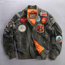 fall air force pilot flight jacket men army green patches leather er jacket baseball coat loose style real leather jacket for men jacket punk leather