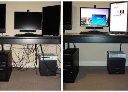 How to hide cords on open desks. This is awesome! This is the one