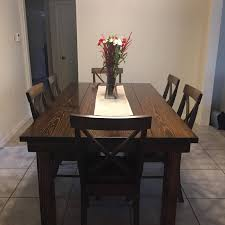 6 5 l x 42 w farmhouse table stained dark walnut with a traditional top