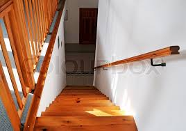 Interior - wood stairs and handrail, stock photo