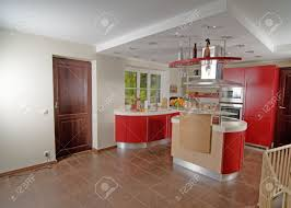 Modern Kitchen Interior Shot Of Beautiful Red Modern Kitchen Interior Stock Photo