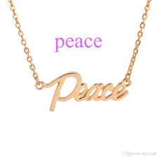 peace the letter pendant necklace silver gold plated blessed joy dream hope lucky word choker necklace women sister gifts jewelry
