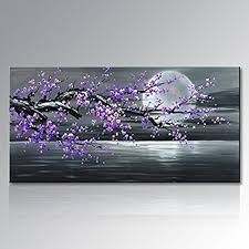 konda art framed plum blossom abstract purple flower wall art painting ready to hang modern decoration on canvas wall art purple flowers with amazon konda art framed plum blossom abstract purple flower
