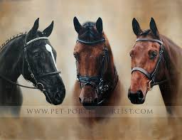 group horse oil painting