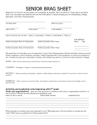 cover letter Annotate Your Activities List Admit This Brag Sheetsample  college resume high school senior