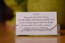 personalized scripture cards in lucite holder