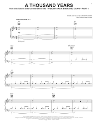 A Thousand Years Sheet Music Christina Perri A Thousand Years Sheet Music Notes Chords Download Printable Piano Vocal Guitar Right Hand Melody Sku 88061